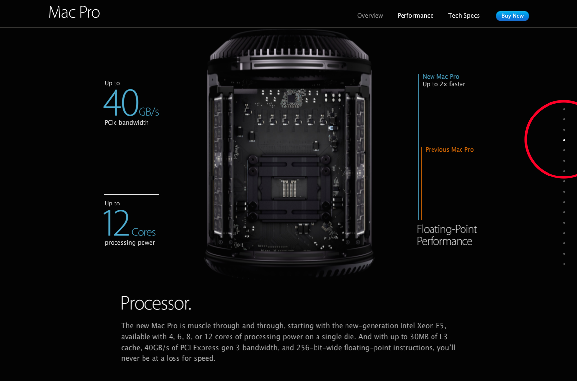 Screen capture of the Apple Mac Pro Site